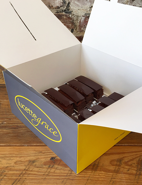 a dozen brownies in a to-go box with handles