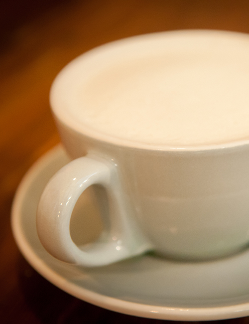 closeup of a flat white coffee