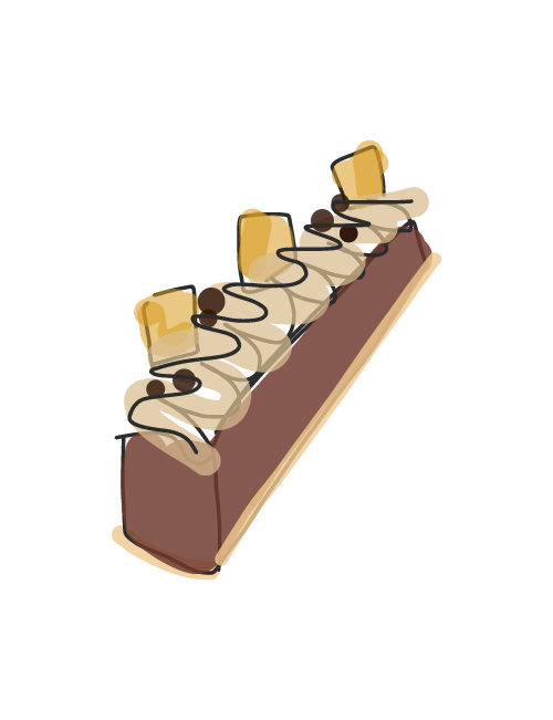 illustration of candy bar cake dessert pastry