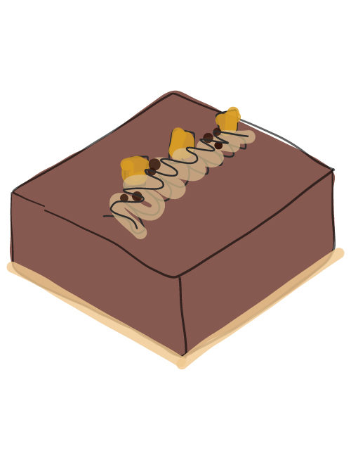 illustration of a square candy bar group cake