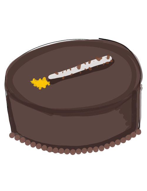 illustration of a large round larry's meets escazu cake