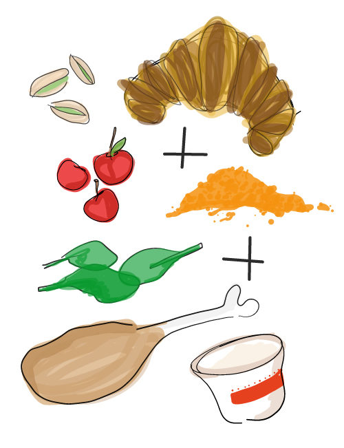 illustration of chicken curry sandwich ingredients