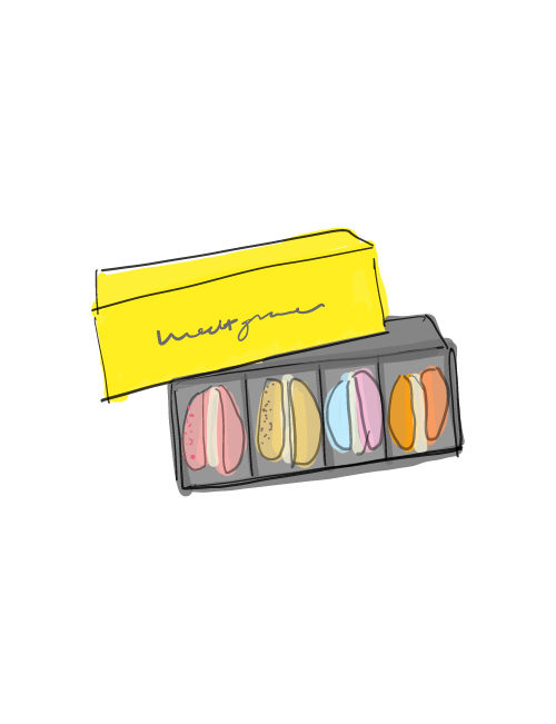 illustration of the 4 piece macaron gift box