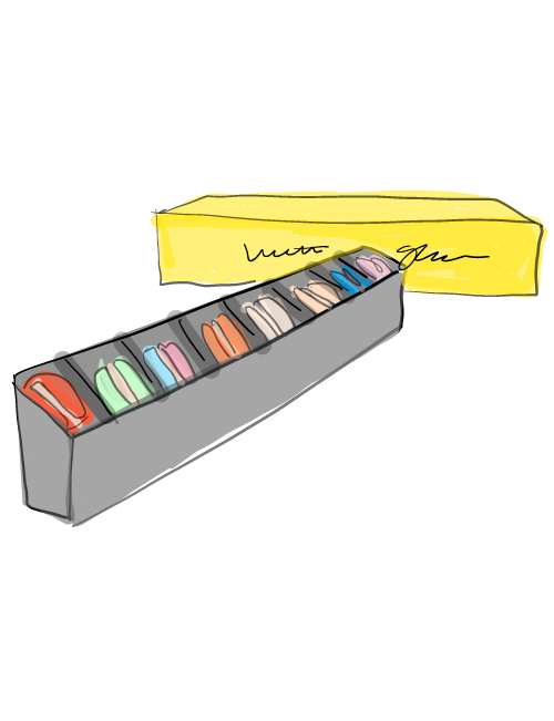 illustration of the 8 piece macaron gift box