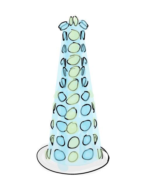 tall and skinny macaron tower illustration