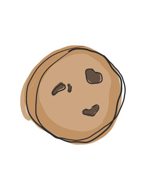 illustration of single chocolate chunk cookie