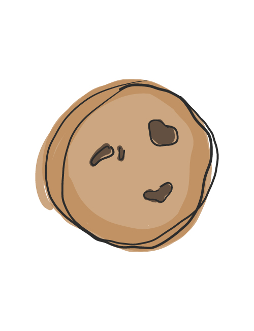 illustration of single chocolate chunk cookie