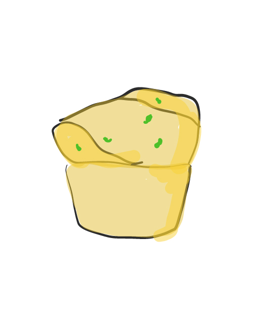 illustration of dixie cannonball gravy-filled muffin
