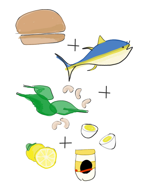 illustration of tuna salad sandwich ingredients