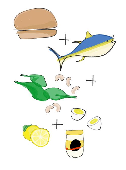 illustration of tuna salad sandwich ingredients