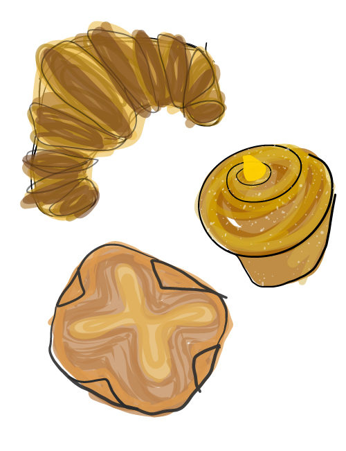 illustration of assorted breakfast pastries
