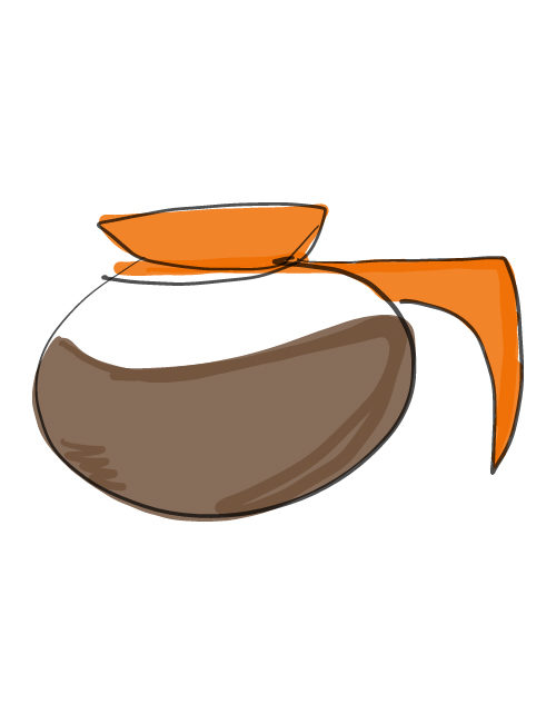 illustration of orange-handled coffee pot