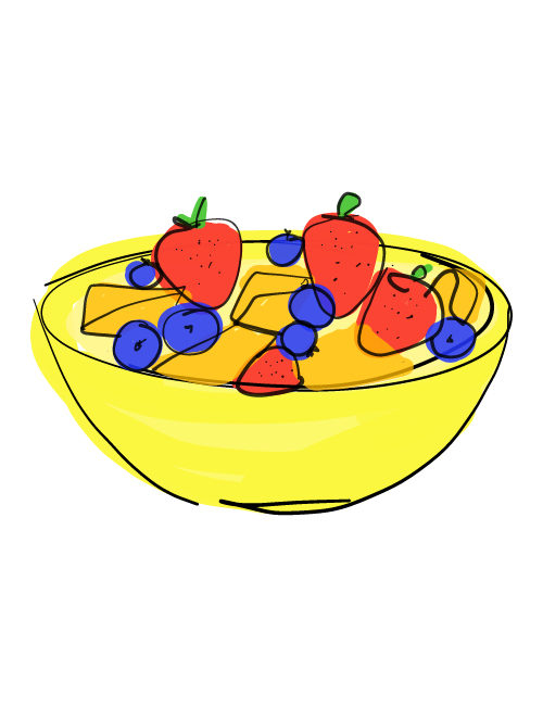 illustration of colorful summer fruit in a bowl