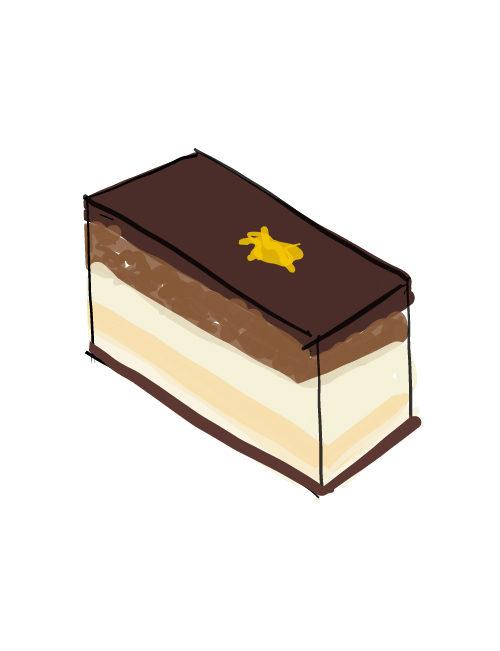 illustration of individual opera cakes