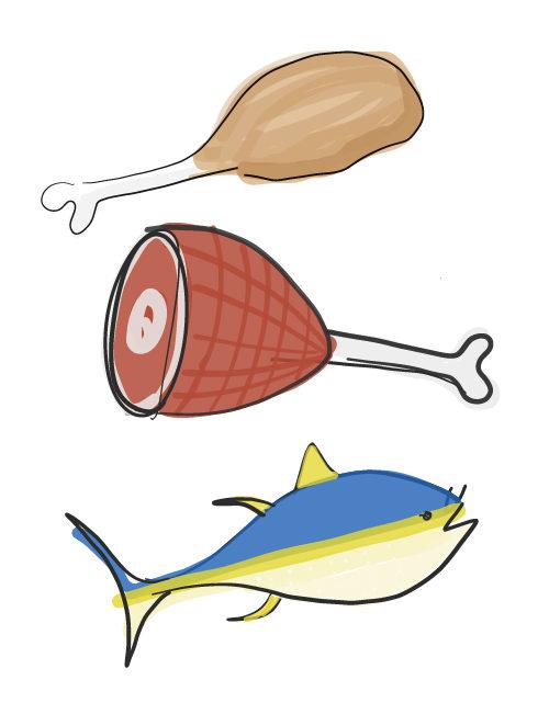 illustration of sandwich meat options