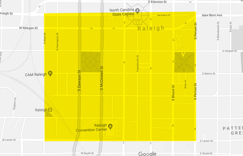 a map of downtown Raleigh showing the catering delivery area