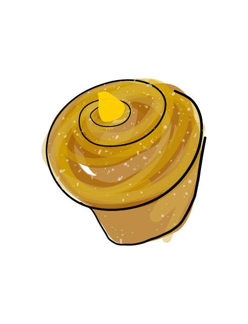 illustration of cream filled morning bun
