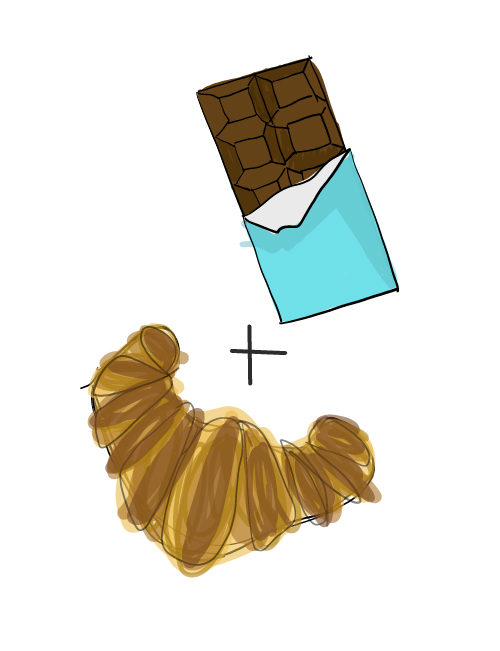 illustration of chocolate bar and croissant