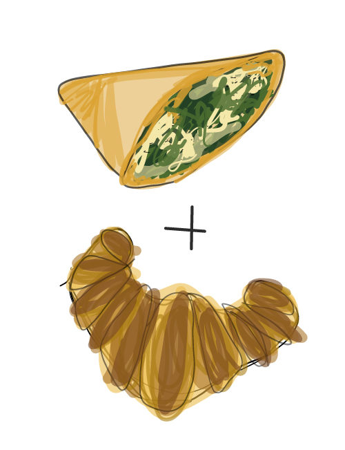 illustration of spanakopita croissant