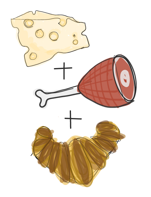 illustration of ham and swiss cheese croissant