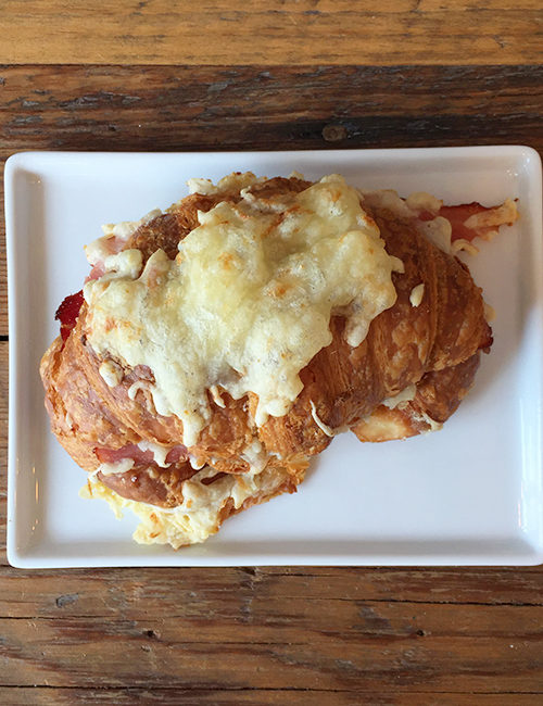 ham and swiss croissant overhead view