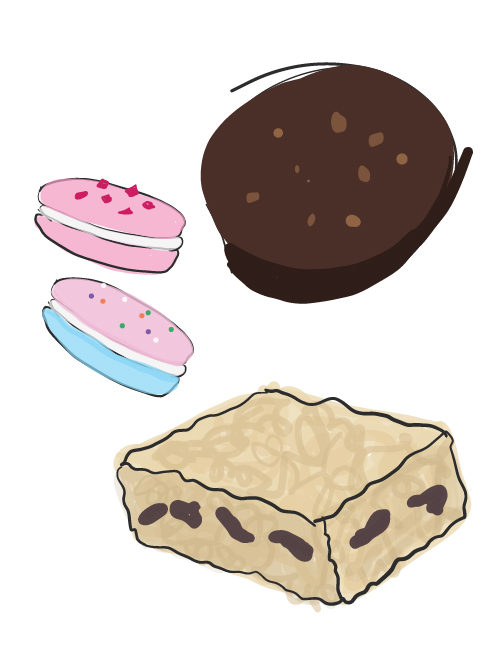 illustration of gluten free catered treats available - macarons, rice krispy treats, and coconut frangipane