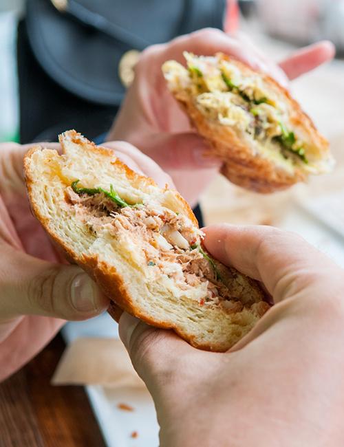 inside of the japanese tuna sandwich