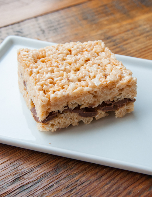 lucettegrace take on the classic rice krispy treat with chocolate chunks in the middle