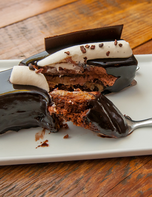 middle view of larry's meets escazu chocolate dessert