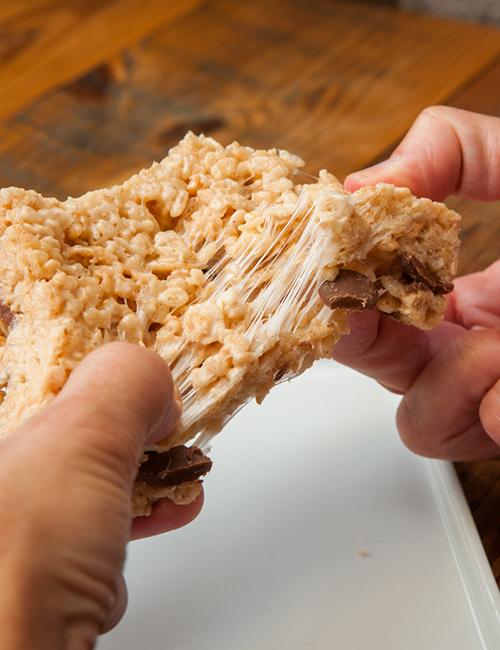 gooey rice krispy treat with chocolate chunks