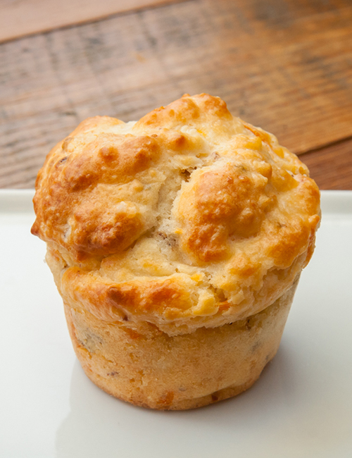 the dixie cannonball, a sausage gravy-filled cheesy biscuit