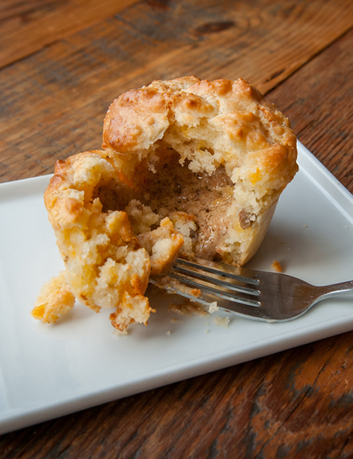 warm gravy at the center of the dixie cannonball breakfast muffin