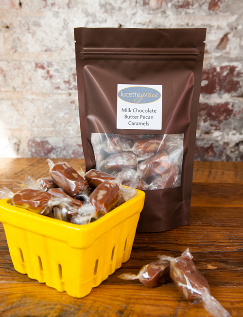 homemade milk chocolate butter pecan caramels individually wrapped, in resealable plastic bag