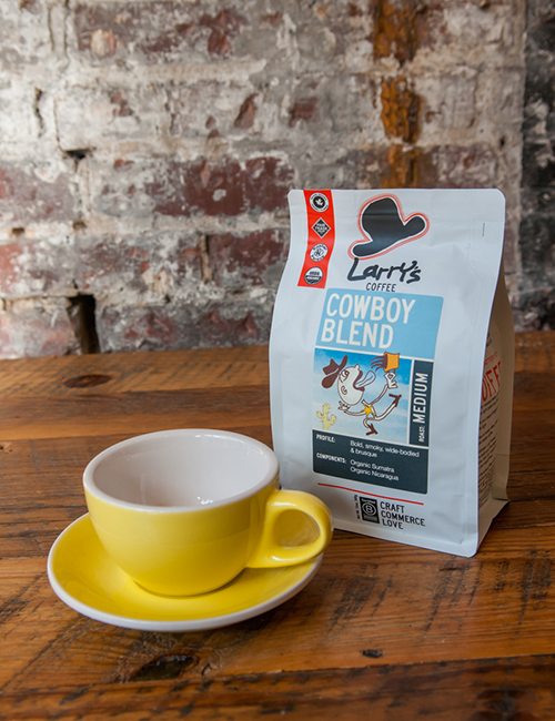 a bag of Larry's Coffee cowboy blend for sale at lucettegrace