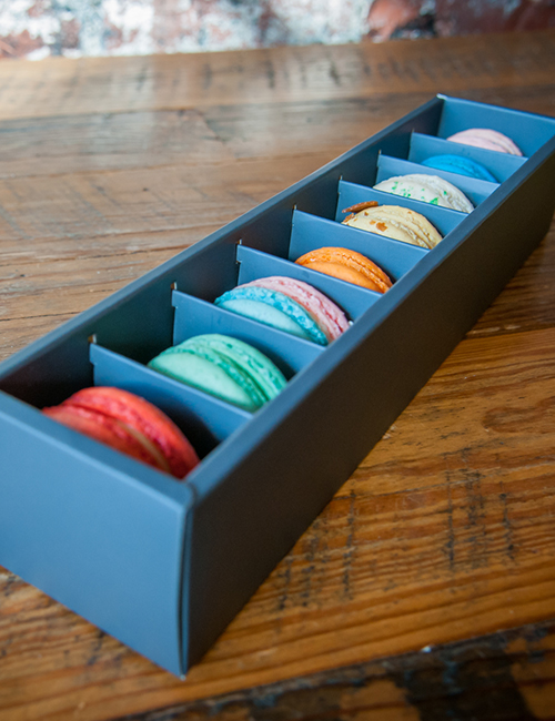 top view of 8 piece macaron gift box