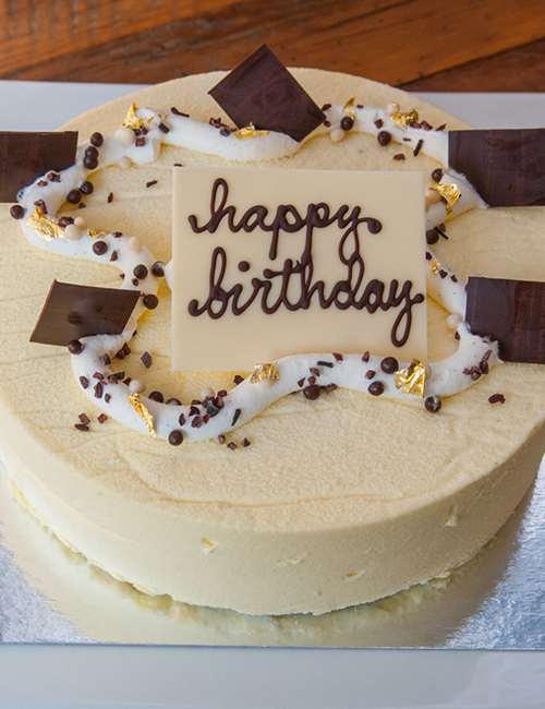 Lucettegrace Birthday Cake With Custom Scripted Message Chocolate Pieces And Gold Foil On